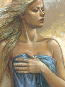 Blonde Posters - Young Woman with Blue Drape crop Poster by Zorina Baldescu