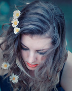 20s Prints - Young woman with flowers in her hair Print by Gabriela Insuratelu