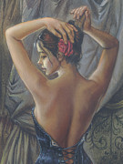 Corset Framed Prints - Young Woman with Luth Crop Framed Print by Zorina Baldescu