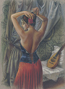 Pleated Skirt Framed Prints - Young Woman with Luth Framed Print by Zorina Baldescu