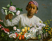 Ethnic Prints - Young Woman with Peonies Print by Jean Frederic Bazille