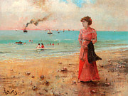 Alfred Posters - Young Woman With Red Umbrella Poster by Alfred Stevens