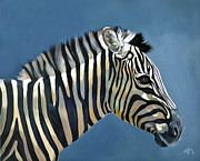 Zebra Paintings - Young Zebra by Antonio Marchese