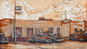 Bar Prints - Youngs Corral - Holbrook AZ - Route 66 - The Mother Road Print by Christine Till