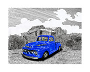 Locations Drawings Prints - Your 1952 F 100 Pick Up in N M  Print by Jack Pumphrey