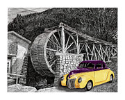 Acrylic Prints Drawings Prints - Your 39 Ford Street Rod next to Waterwheel Print by Jack Pumphrey