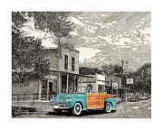 Locations Drawings Prints - Your car in Hillsboro N M  Print by Jack Pumphrey
