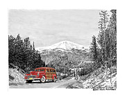 Acrylic Prints Drawings - Your Car on Apache Summit by Jack Pumphrey