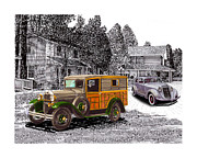1935  Drawings Posters - Your cars at the Appletree Inn Poster by Jack Pumphrey