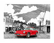 Ink Art Posters - Your Ferrari in Tularosa N M  Poster by Jack Pumphrey