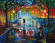 Lighted Park Prints - Your Love Print by Leslie Allen