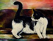 Black And White Cats Paintings - Your Pets Commission Me To Paint by Carole Spandau