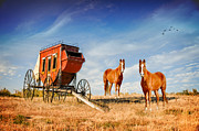 Prairie Skies Art Prints - Your Ride Awaits Print by Mary Timman