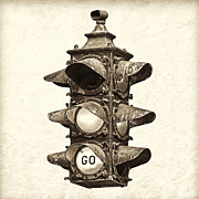 Road Signal Prints - Youre Free to Go - Sepia Print by Martin Bergsma
