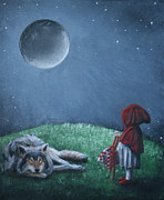 Red Riding Hood Paintings - Youre Just a Big Bad Wolf. by Rachael Curry