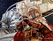 Boba Fett Paintings - Youre no good to me Dead by Al  Molina