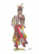 Native Americans Drawings Posters - Youth Dance Poster by Lew Davis