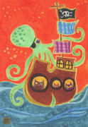 Pirate Ship Drawings Prints - Youve Been Pirated Print by Kate Cosgrove
