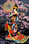 Blossom Digital Art Prints - Yozakura Print by MGL Meiklejohn Graphics Licensing
