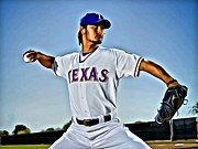 First Baseman Framed Prints - Yu Darvish Painting Framed Print by Florian Rodarte