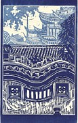 Linoleum Drawings - Yu Garden Rooftops by Jennifer Harper