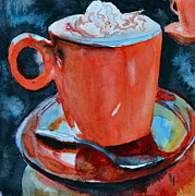 Coffee Drinking Painting Posters - Yum Poster by Beverley Harper Tinsley