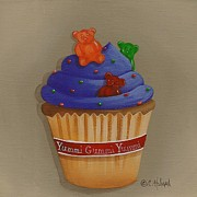 Folk Art Paintings - Yummi Gummi Bear Cupcake by Catherine Holman