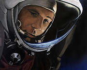 Astronauts Paintings - Yuri Alekseyevich Gagarin by Simon Kregar