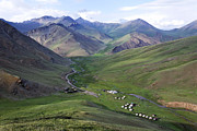 At-bashy Mountain Range Photos - Yurts in the Tash Rabat Valley of Kyrgyzstan  by Robert Preston
