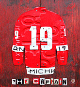 Hockey Mixed Media Metal Prints - Yzerman The Captain Red Wings Hockey Jersey License Plate Art Metal Print by Design Turnpike