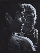 Spock Drawings Prints - Zachary Quinto and Leonard Nimoy Print by Rosalinda Markle
