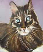 Cat Portraits Pastels Prints - Zack Attack Print by Eric Dee