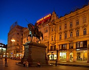 Zagreb Ban Jelacic Square At Night Print by Steven Richman