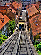 Inclined Prints - Zagreb Funicular Print by Nina Ficur Feenan