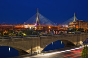 Highway Lights Prints - Zakim at Night 2 Print by Joann Vitali