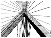 River Scenes Drawings - Zakim Bridge by Conor Plunkett