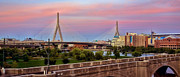 Bunker Hill Prints - Zakim Bridge Sunset Print by Joann Vitali