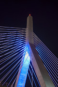 Night Scenes Framed Prints - Zakim in Blue 2 - Boston Framed Print by Joann Vitali