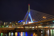 Night Scenes Prints - Zakim Reflections - Boston Print by Joann Vitali