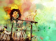 Singer  Paintings - Zakir Hussain by Catf