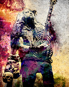 Rock N Roll Painting Prints - Zakk Wylde - Ozzy Osbourne  Print by Ryan Rabbass