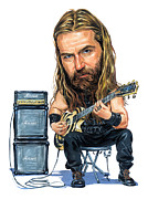 Caricature Painting Framed Prints - Zakk Wylde Framed Print by Art