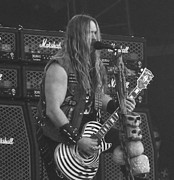 Portrait Pyrography Prints - Zakk Wylde Print by Manik Designs