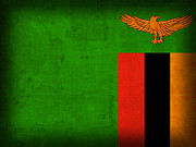 Africa Mixed Media Prints - Zambia Flag Distressed Vintage Finish Print by Design Turnpike
