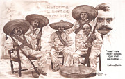 Mexican Pastels Posters - Zapata and Friends Poster by Bill Olivas