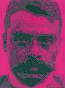 Chicano Painting Prints - Zapata Intenso Print by Roberto Valdes Sanchez
