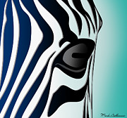 Wild Animals Digital Art Metal Prints - Zebra 2 Metal Print by Mark Ashkenazi