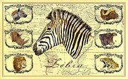 Antique Map Digital Art - Zebra African map heads by Juan  Bosco