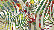 Zebra Mixed Media - Zebra art - 3 stylised drawing art poster by Kim Wang