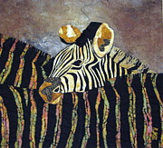 Fabric Collage Tapestries Textiles Prints - Zebra Baby Print by Lynda K Boardman